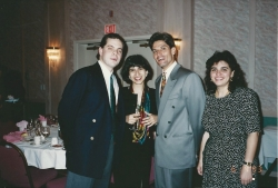 l to r:  Mark Shermer, (blocking on her name, M.M.? intern with us in '92-93), Diego Diaz, Yvonne Santiago